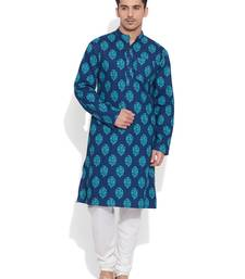 Buy blue cotton printed stitched kurta men-festive-wear online
