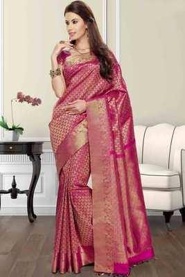 Pink silk brocade zari weaved saree in golden border & pink pallu