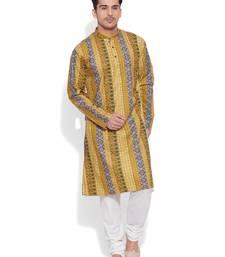 Buy ochre cotton printed stitched kurta men-kurta online