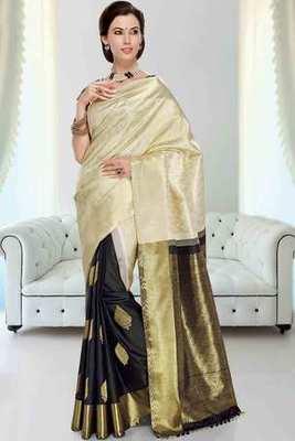 Off white & black silk weaved half & half saree in gold & black pallu