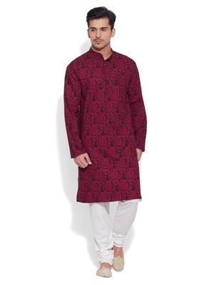 maroon cotton printed stitched kurta