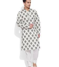 cream cotton printed stitched kurta