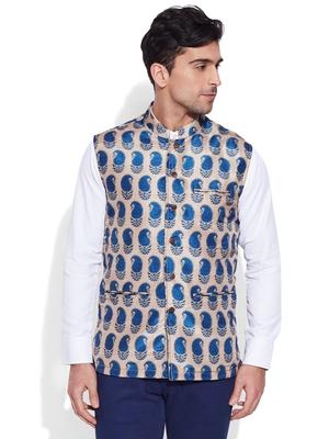 beige printed stitched nehru jacket