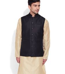 Buy black printed stitched nehru jacket men-festive-wear online