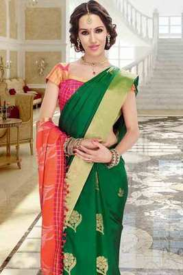 Green silk zari weaved saree in multi colour pallu & golden border