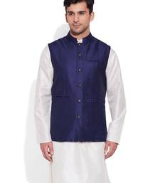 Buy navy printed stitched nehru jacket nehru-jacket online
