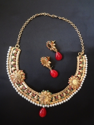 Designer kasu Necklace with dangler earrings