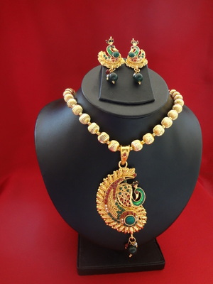 Peacock Pendant Necklace with Beautiful Earrings