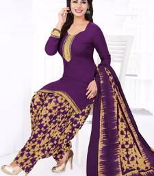 Buy PURPLE printed cotton unstitched salwar with dupatta punjabi-suit online