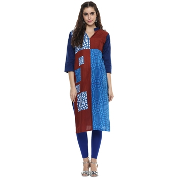 multicolor abstract_print cotton stitched  kurti