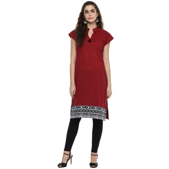 maroon abstract_print cotton stitched  kurti
