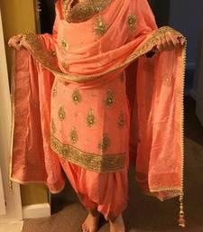Buy Light orange embroidered cotton silk salwar semi-stitched-salwar-suit online