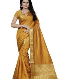 Buy Orange hand woven art silk saree with blouse banarasi-saree online