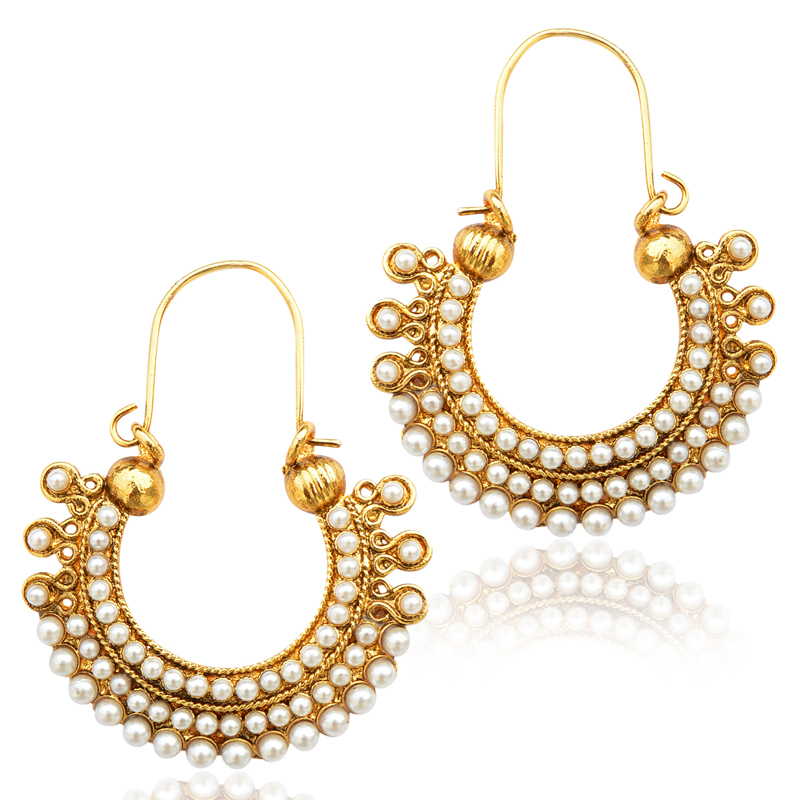 Pearl golden finish ethnic bali hoop Indian vintage ethnic jewelry earring dds PSEAZ001WH mz1 - ADIVA - 173816