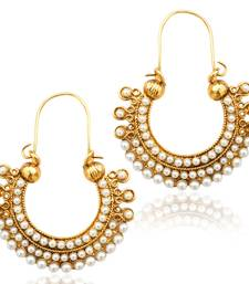 Pearl golden finish ethnic bali hoop Indian vintage ethnic jewelry earring dds PSEAZ001WH mz1