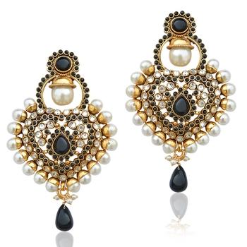 Royal black antique really ethnic pearl polki Mughal Rajputana earring  j40k pseaz003ka
