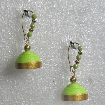 Parrot green hanging quilled jhumkas