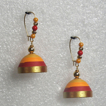 Orange with red hanging quilled jhumkas