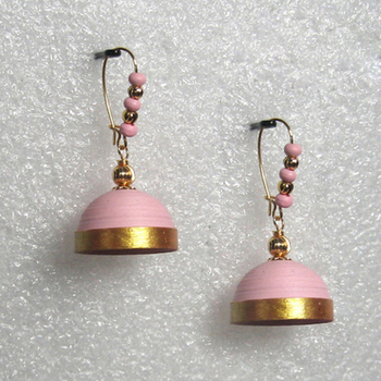 Light pink hanging quilled jhumkas