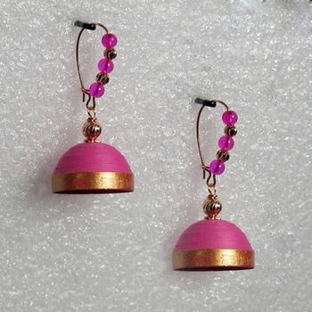 Pink hanging quilled jhumkas