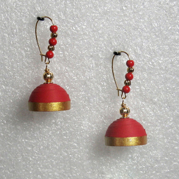 Red hanging quilled jhumkas