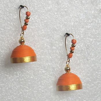 Orange hanging quilled jhumkas