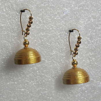 Gold hanging quilled jhumkas