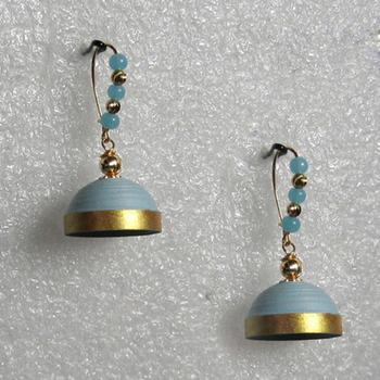 Light blue hanging quilled jhumkas