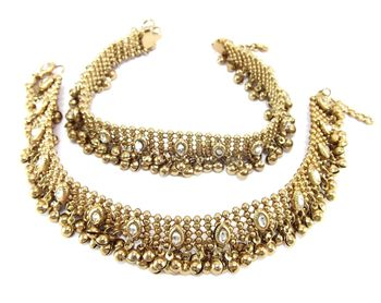 antique style cz gold plated bridal anklet Oa1