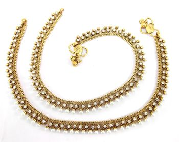 bridal faux pearl cz gold plated anklet