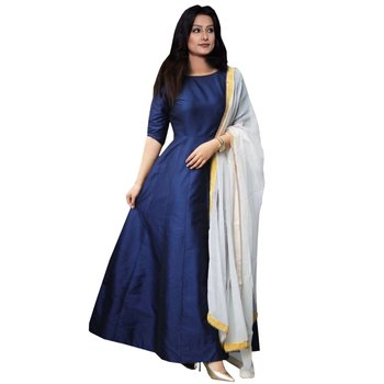 1e872359b6 Navy blue plain silk anarkali suit semistiched - Vitrag Fashion ...