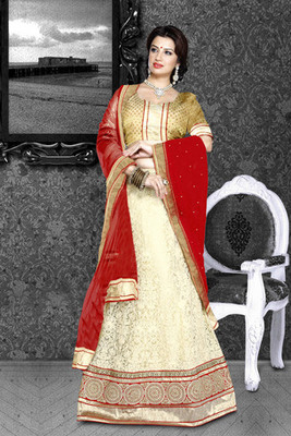 Beautiful Designed Embroidered work Bridal Collection Beige & Golden Color Broad self Designed Net Lehenga