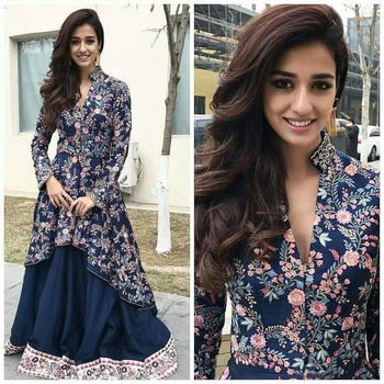 Dark navy blue printed silk salwar