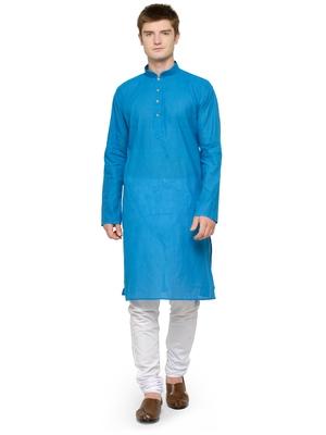 Blue and White Plain Cotton Kurta Pyjama Set For Men