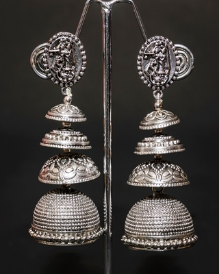Silver pearl  jhumkas