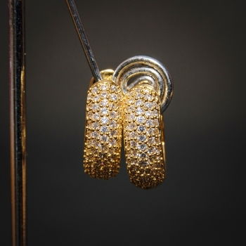 Gold cubic zirconia brass hoops