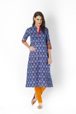 Indigo printed cotton long kurtis