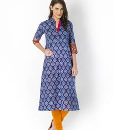Indigo printed cotton long kurtis