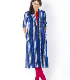Indigo printed cotton long-kurtis