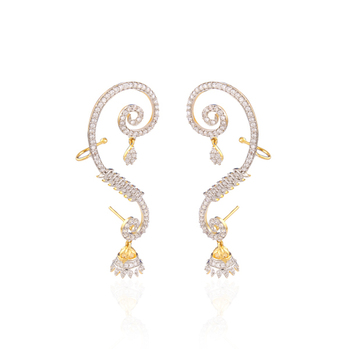 Gold plated american diamond ear cuffs