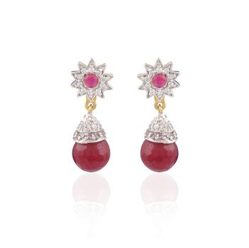 Panjarat Gold plated american diamond earrings