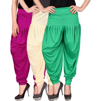 Pink cream green stirped combo pack of 3 free size harem pants