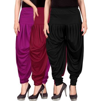 Purple maroon black stirped combo pack of 3 free size harem pants