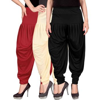Red cream black stirped combo pack of 3 free size harem pants