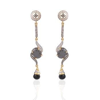 Style guru Gold plated american diamond earrings