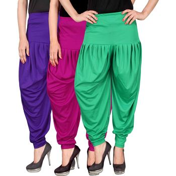 Blue pink green stirped combo pack of 3 free size harem pants
