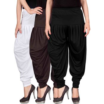 White brown black stirped combo pack of 3 free size harem pants