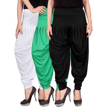 White green black stirped combo pack of 3 free size harem pants