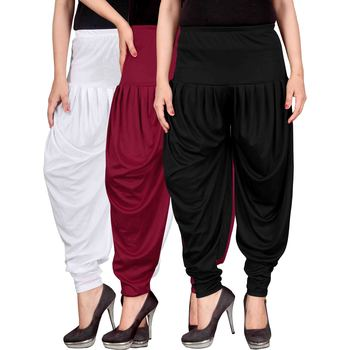 White maroon black stirped combo pack of 3 free size harem pants