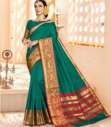 Buy Dark green printed cotton silk saree with blouse diwali-sarees-collection online